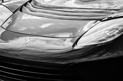 Photograph - Tesla Hood Emblem -0675bw by Jill Reger