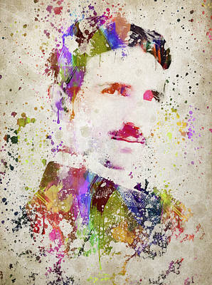 Portraits Royalty-Free and Rights-Managed Images - Tesla in Color by Aged Pixel