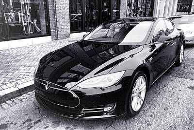 Art Print featuring the photograph Tesla Model S by Olivier Le Queinec