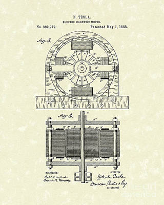 Drawing - Tesla Motor 1888 Patent Art by Prior Art Design
