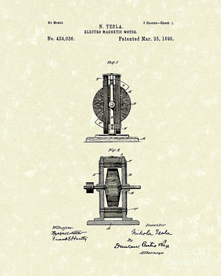 Drawing - Tesla Motor 1890 Patent Art by Prior Art Design