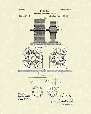 Drawing - Tesla Motor 1891 Patent Art by Prior Art Design