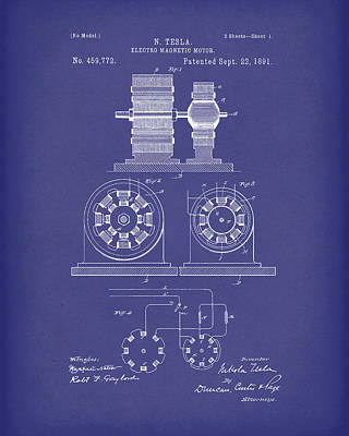 Drawing - Tesla Motor Sept 1891 Patent Art Blue by Prior Art Design