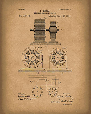 Drawing - Tesla Motor Sept 1891 Patent Art Brown by Prior Art Design
