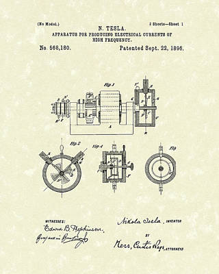 Tesla Radio Transmitter 1896 Patent Art Art Print by Prior Art Design
