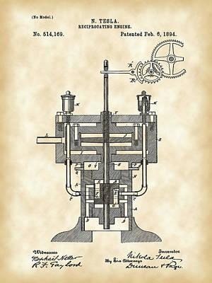Tesla Reciprocating Engine Patent 1894 - Vintage Art Print by Stephen Younts