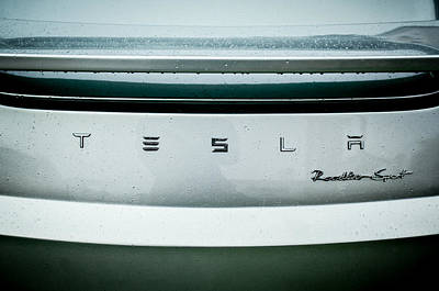 Photograph - Tesla Roadster Sport Rear Emblem - 0026c by Jill Reger