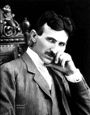 Tesla The Father Of Modern Electricity  Art Print by Garland Johnson