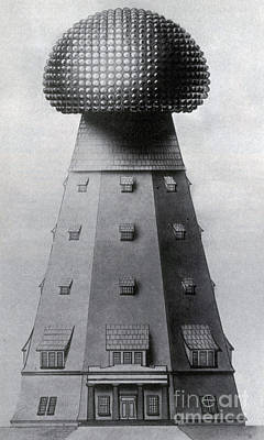 Tele Photograph - Tesla Tower For Wireless Transmission by Science Source