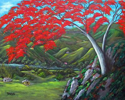 Flamboyant Tree Painting - Tesoro De Mi Isla by Gloria E Barreto-Rodriguez