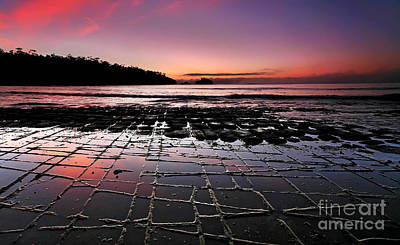 Fractured Photograph - Tesselated Pavement Sunrise by Bill  Robinson