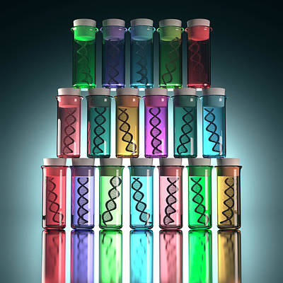 Large Group Of Objects Photograph - Test Tubes With Dna by Ktsdesign