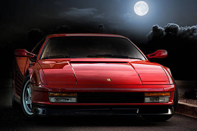 Evening Digital Art - Testarossa Moon by Peter Chilelli