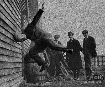 Testing Football Helmets In 1912 Ouchhhhh Art Print
