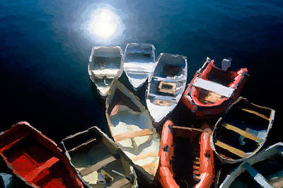 Digital Art - Tethered Boats - Maine - A Painting by David Perry Lawrence