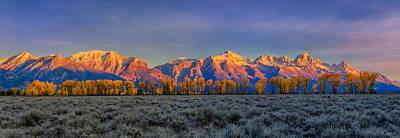 Photograph - Teton Alpenglow Autumn Panorama by Greg Norrell