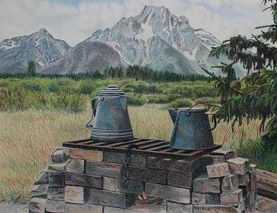 Teton Drawing - Teton Cook Site by Scott Kingery