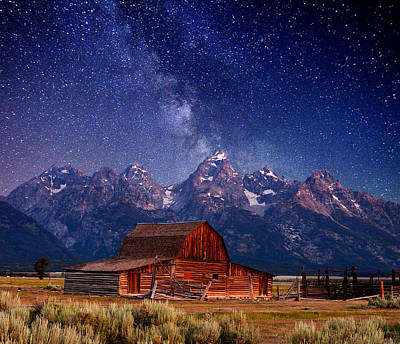 White Barn Photograph - Teton Nights by Darren  White