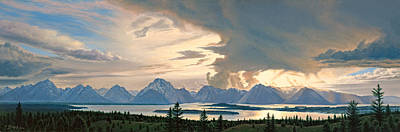 Panorama Painting - Teton Range From Signal Mountain by Paul Krapf