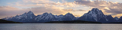 Wyoming Photograph - Teton Range Sunset Panorama On Jackson Lake by Aaron Spong
