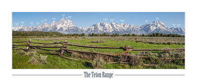 Teton Range With Peak Labels Art Print
