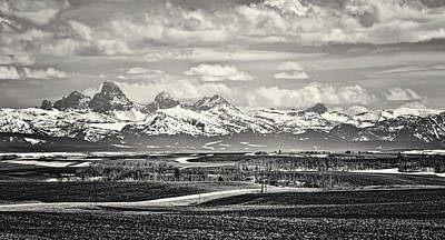 Photograph - Teton Vista Black And White by Heather Applegate