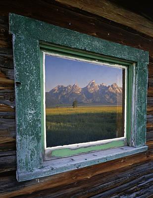 Teton Window Reflection Art Print by Mike Norton