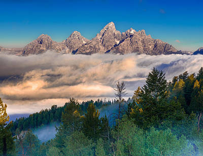 Tetons Above The Clouds Print by Jerry Patterson