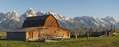 Photograph - Tetons And Old Barn - Mormon Row by Aaron Spong