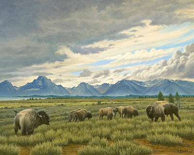 Wyoming Painting - Tetons-buffalo  by Paul Krapf