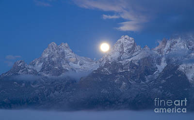 Photograph - Tetons By Moonlight by Idaho Scenic Images Linda Lantzy