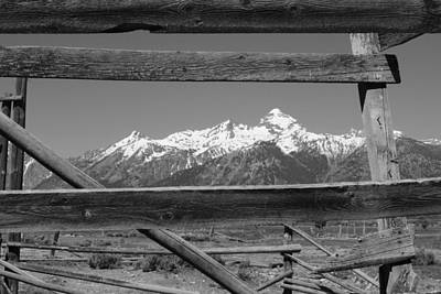 Photograph - Tetons Framed In Black And White by Robert  Moss