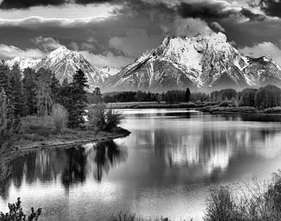 White River Scene Photograph - Tetons In Black And White by Dan Sproul