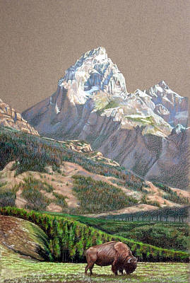 Teton Drawing - Tetons by Kathleen English-Barrett