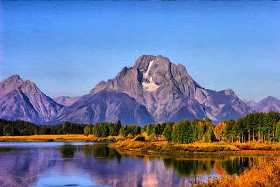 Teton Digital Art - Tetons Mt Moran by Paddrick Mackin