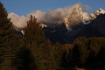 Tetons Shrouded By Morning Clouds Print by Jetson Nguyen