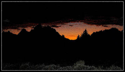Photograph - Tetons Sunset Silhouette I by Kathy Sampson