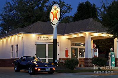 Old Texaco Gas Station Photograph - Texaco Corvette by Dennis Hedberg