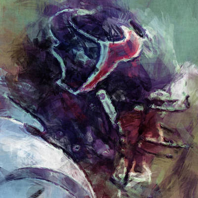Gridiron Digital Art - Texans Art Abstract by David G Paul