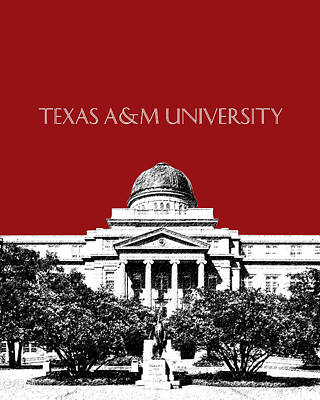 Pen Digital Art - Texas A And M University - Dark Red by DB Artist