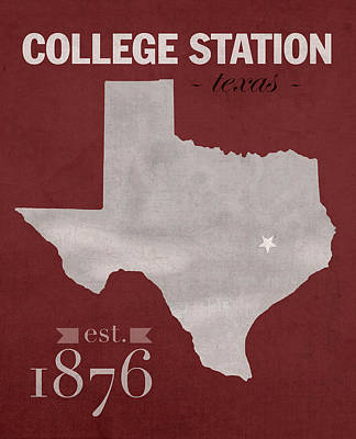 Texas A And M Mixed Media - Texas A And M University Aggies College Station College Town State Map Poster Series No 106 by Design Turnpike