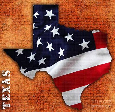 Us Flag Mixed Media - Texas American Flag Map by Marvin Blaine