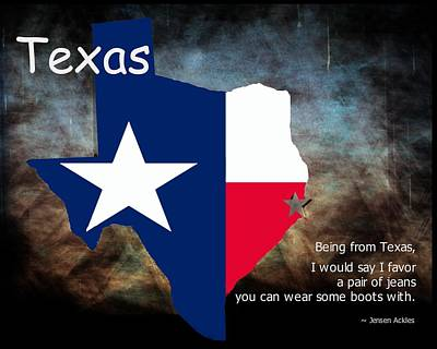 Mixed Media - Jensen Ackles Texas Quote by Bob Pardue