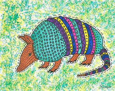 Texas Armadillo Art Print by Susie Weber