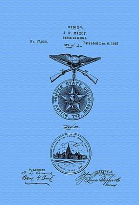 1880s Photograph - Texas Badge Or Medal Patent by Mountain Dreams