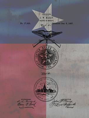 Dallas Drawing - Texas Badge Patent On Texas Flag by Dan Sproul