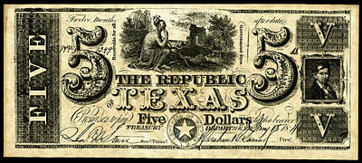 Republic Of Texas Painting - Texas Banknote, 1840 by Granger