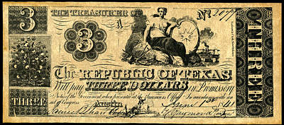 Republic Of Texas Painting - Texas Banknote, 1841 by Granger