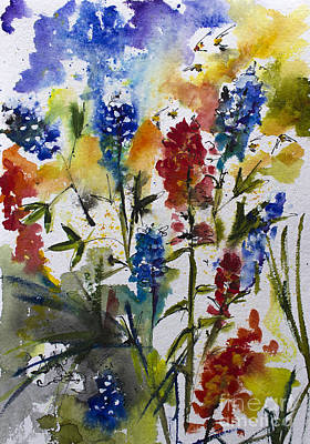 Texas Blue Bonnets And Indian Paintbrush Watercolor Art Print