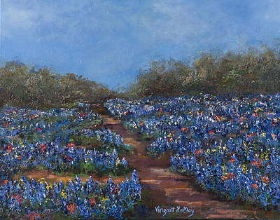 Texas Blue Bonnets Hill Country Trail Art Print by Nancy LaMay